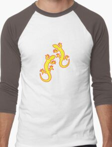 Geckos gelb rot Men's Baseball ¾ T-Shirt
