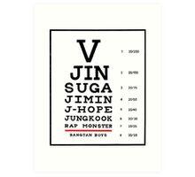 BTS Eye Chart - Black Art Print
