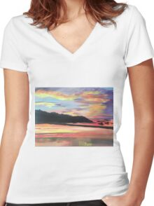 Long Island Sound at Sunset Women's Fitted V-Neck T-Shirt
