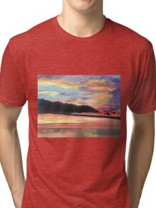 Long Island Sound at Sunset Tri-blend T-Shirt