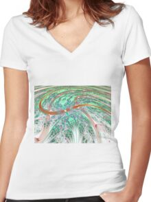 Dynamic Swirl - Abstract Fractal Artwork Women's Fitted V-Neck T-Shirt