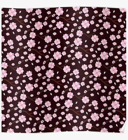 Decorative cherry blossom pattern Poster