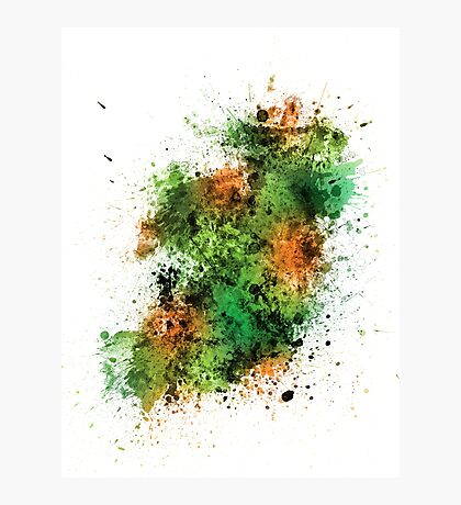 Ireland Map Paint Splashes Photographic Print