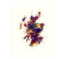 Scotland Paint Splashes Map Art Print