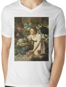 Pieter Cornelis  Van Rijck - Market stall with two figures. Still Life: Market, Woman, man, food,  vegetables, vegetable, fruits, cooking, kitchen,  feast Mens V-Neck T-Shirt