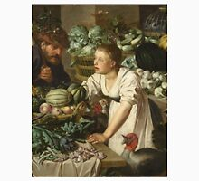 Pieter Cornelis  Van Rijck - Market stall with two figures. Still Life: Market, Woman, man, food,  vegetables, vegetable, fruits, cooking, kitchen,  feast Unisex T-Shirt