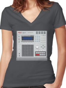 AKAI MPC 3000 Women's Fitted V-Neck T-Shirt