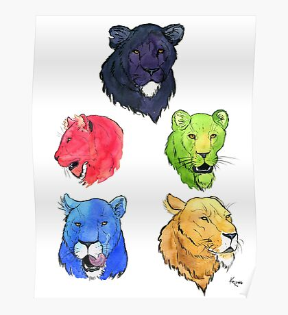 Voltron Lions Portrait Set Poster