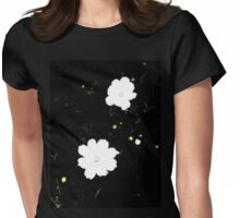 Daisies in Black Womens Fitted T-Shirt
