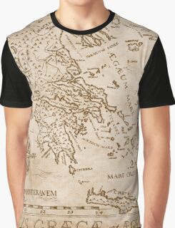 Hand Drawn Greek Map Graphic T-Shirt