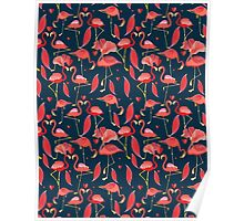 Graphic seamless pattern of red flamingo Poster