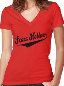 Stars Hollow - Retro Baseball Style, Black Font Women's Fitted V-Neck T-Shirt