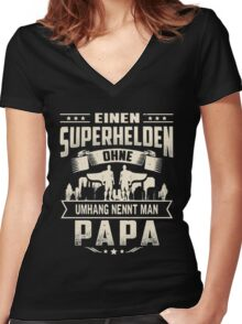 PAPA Women's Fitted V-Neck T-Shirt