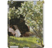 Severin Roesen - Roses. Marie Kroyer Seated In The Deckchair In The Garden. Still life with flowers: bouquet, flowers, bumblebee , carnations, peonies, roses, tulips, marigolds, life, garden, blossom iPad Case/Skin