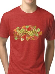 image of a mix of various food items with a label Tri-blend T-Shirt