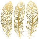 Gold Tribal Feathers Illustration by artonwear