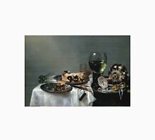 Willem Claesz Heda - Breakfast Table With Blackberry Pie 1631 . Still life with fruits and vegetables: Breakfast,  Table ,  Blackberry, tasty,  Pie , flowers, dish, cooking, kitchen, vase Unisex T-Shirt