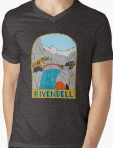 Rivendell Retro Travel Poster Mens V-Neck T-Shirt