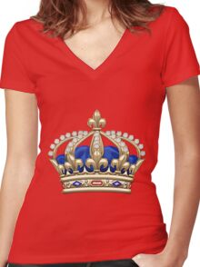 Royal Crown of France  Women's Fitted V-Neck T-Shirt