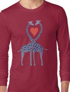 Giraffes in Love - A Valentine's Day Illustration Long Sleeve T-Shirt