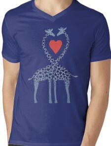 Giraffes in Love - A Valentine's Day Illustration Mens V-Neck T-Shirt