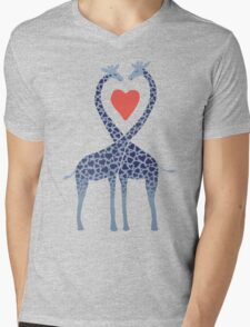 Giraffes in Love - A Valentine's Day Illustration Mens V-Neck T-Shirt
