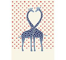 Giraffes in Love - A Valentine's Day Illustration Photographic Print