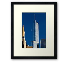 Chicago Illinois, skyline. Trump tower and the moon on blue aky Framed Print