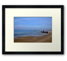 Rusty abandoned beached ship  Framed Print