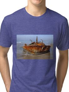 Rusty abandoned beached ship  Tri-blend T-Shirt