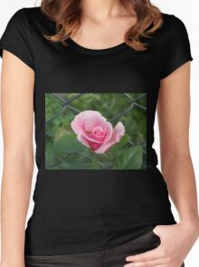 Pink rose and wire fence Women's Fitted Scoop T-Shirt