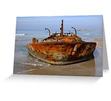Rusty abandoned beached ship  Greeting Card