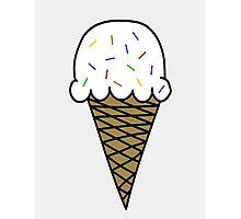 Vanilla Ice Cream Cone Photographic Print