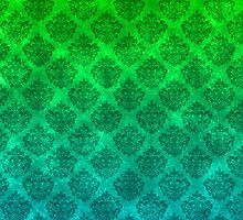 Sea Green and Blue Damask Pattern on Textured Background by bexilla