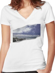 Yachats Oregon - Natural Water Falls Women's Fitted V-Neck T-Shirt