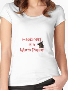 Happiness is a Warm Puppy Women's Fitted Scoop T-Shirt