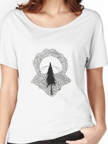 Geometric Landscape of Pine and Mountains Women's Relaxed Fit T-Shirt
