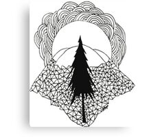 Geometric Landscape of Pine and Mountains Canvas Print