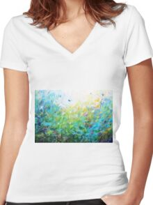 Songs of Spring Women's Fitted V-Neck T-Shirt
