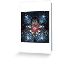 Red and Blue Flowers - Abstract Fractal Artwork Greeting Card