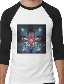 Red and Blue Flowers - Abstract Fractal Artwork Men's Baseball ¾ T-Shirt
