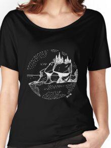 Hand Drawn - Hopewell Rocks, New Brunswick - Alma Women's Relaxed Fit T-Shirt
