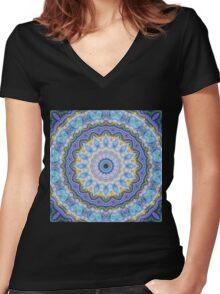 Blue Mandala - Abstract Fractal Artwork Women's Fitted V-Neck T-Shirt