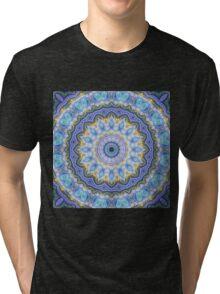 Blue Mandala - Abstract Fractal Artwork Tri-blend T-Shirt