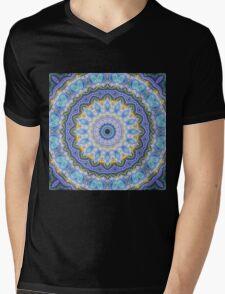 Blue Mandala - Abstract Fractal Artwork Mens V-Neck T-Shirt