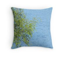 birch bunch of leaves the lake in the background Throw Pillow