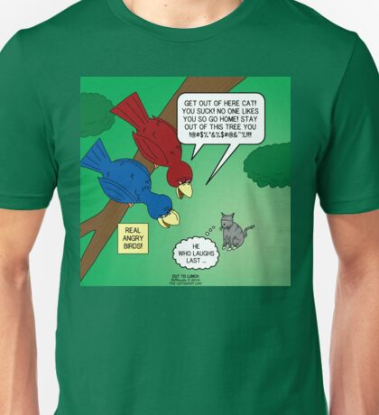 Real Angry Birds vs. Angry Cat Unisex T-Shirt