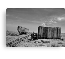 Derelict Fishing Boat & Hut at Dungeness Canvas Print