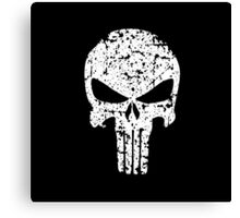 The Punisher Skull Distress White Marvel Fanart Canvas Print