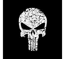 The Punisher Skull Distress White Marvel Fanart Photographic Print